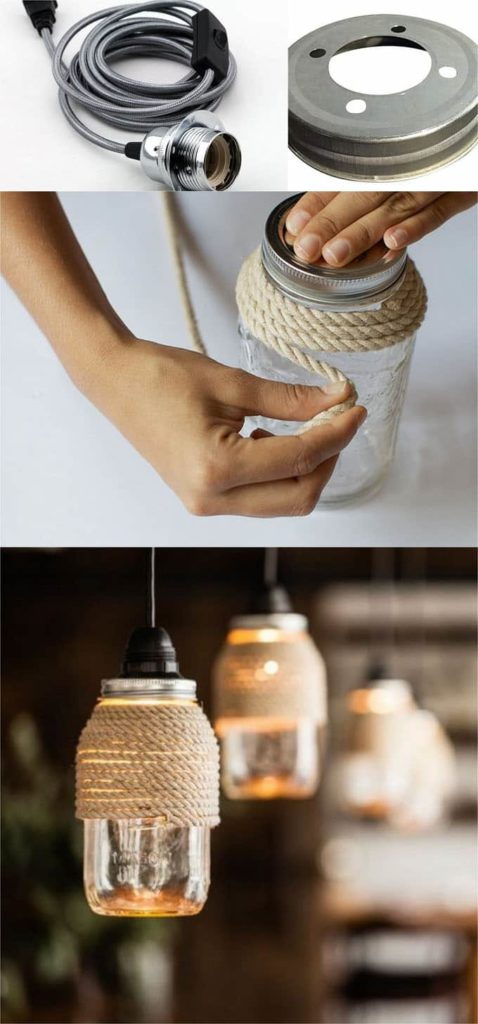 mason jar converted into beautiful light