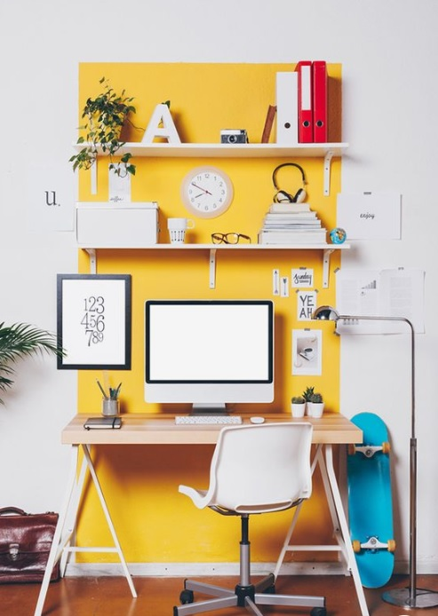Yellow paint behind a work station