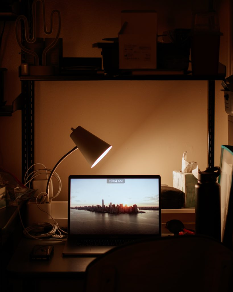 Lamp on the study table acting as task light