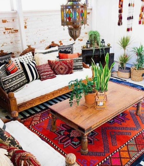 Bold carpet in Boho home