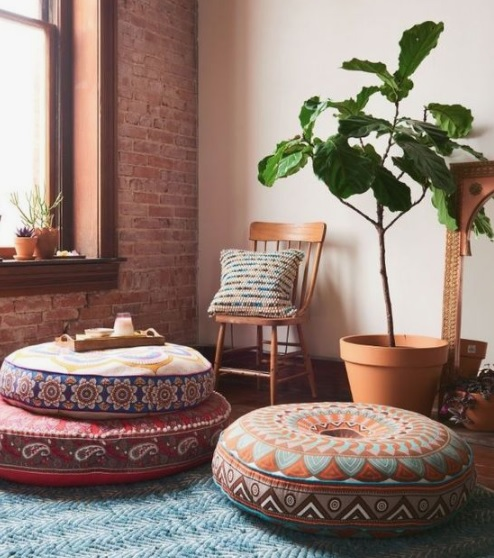 Floor cushions at Boho home