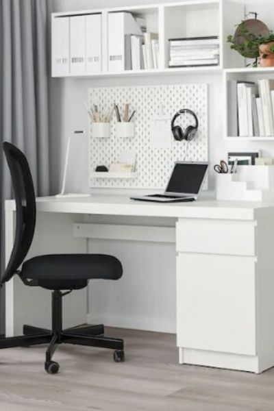 Chair and desk at home office setup