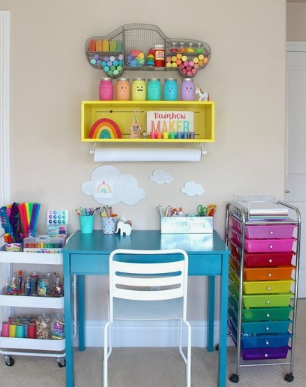 colorful set up to brighten up dull kid's room in a rented home