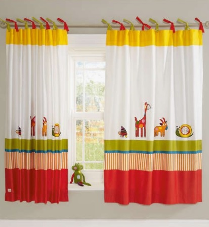 curtains with animal print in kids room