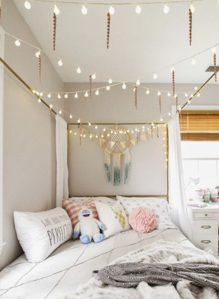 LED strip lights around cot