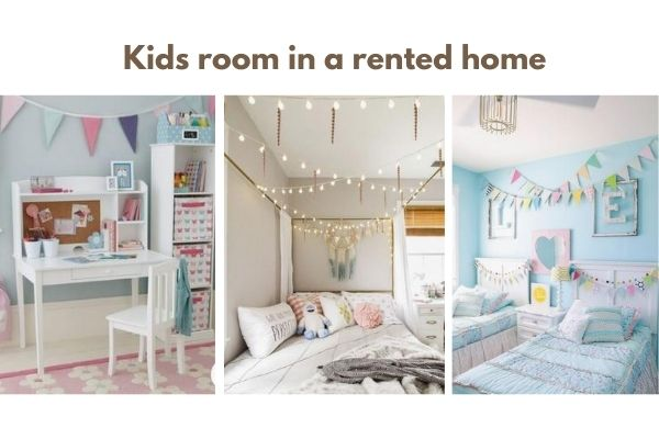 "Collage of three kids room pictures with a text reading ""Kids room in a rented home"""