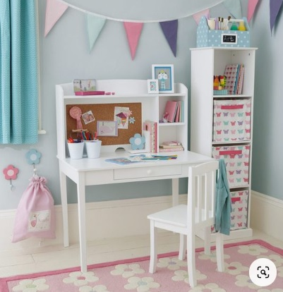 Movable study table and storage unit in kids bedroom