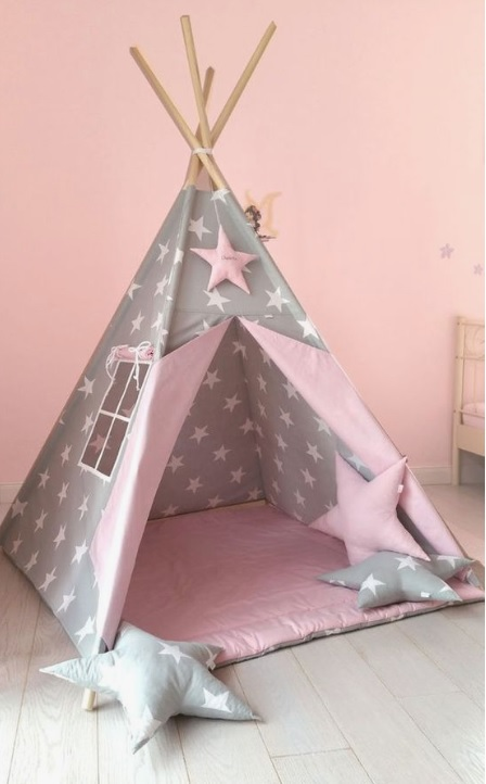 tented bed in kids room