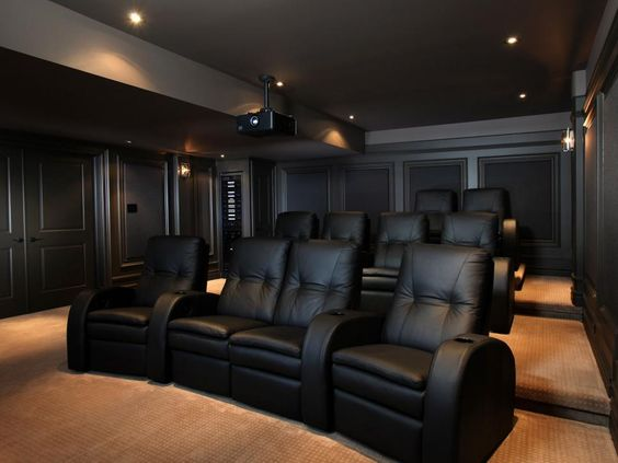 Black home theater room