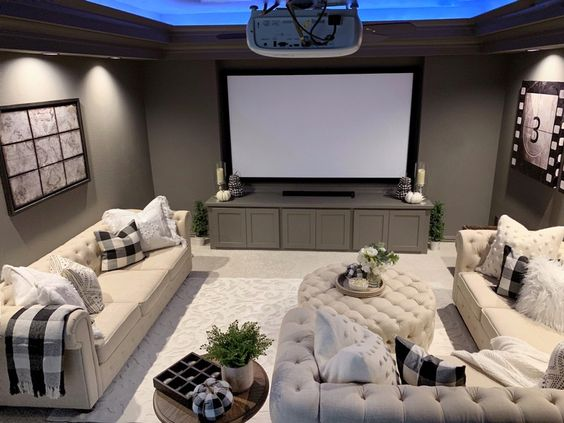 Home theater room with cozy sofas